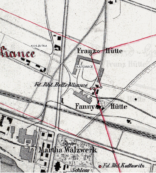 1883 map of Huta Fanny formerly on the site now at Spodex
